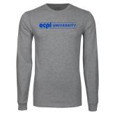 Grey Long Sleeve T Shirt-ECPI University Flat