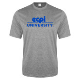 Performance Grey Heather Contender Tee-ECPI University Stacked