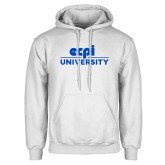 White Fleece Hoodie-ECPI University Stacked