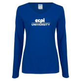Ladies Royal Long Sleeve V Neck Tee-ECPI University Stacked