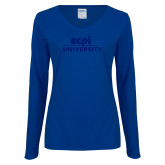 Ladies Royal Long Sleeve V Neck Tee-ECPI University Stacked Dark Blue Glitter