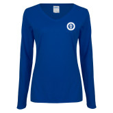 Ladies Royal Long Sleeve V Neck Tee-ECPI University Seal