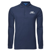 Navy Long Sleeve Polo-ECPI University Stacked