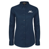 Ladies Navy Twill Button Down Long Sleeve-ECPI University Stacked