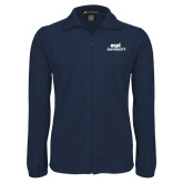Fleece Full Zip Navy Jacket-ECPI University Stacked