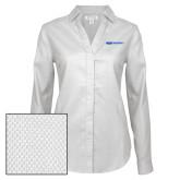 Ladies Red House Diamond Dobby White Long Sleeve Shirt-ECPI University Flat