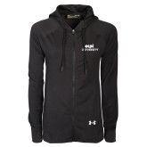 Ladies Under Armour Black Varsity Full Zip Hoodie-ECPI University Stacked