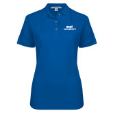 Ladies Easycare Royal Pique Polo-ECPI University Stacked