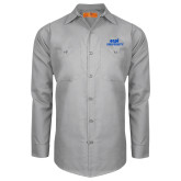 Red Kap Light Grey Long Sleeve Industrial Work Shirt-ECPI University Stacked