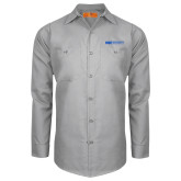 Red Kap Light Grey Long Sleeve Industrial Work Shirt-ECPI University Flat