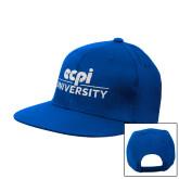 Royal Flat Bill Snapback Hat-ECPI University Stacked