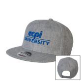 Heather Grey Wool Blend Flat Bill Snapback Hat-ECPI University Stacked