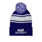 Royal/White Two Tone Knit Pom Beanie with Cuff-ECPI University Stacked