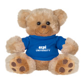 Plush Big Paw 8 1/2 inch Brown Bear w/Royal Shirt-ECPI University Stacked