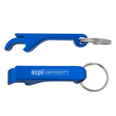 Aluminum Blue Bottle Opener-ECPI University Flat  Engraved