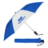 42 Inch Slim Stick Royal/White Vented Umbrella-ECPI University Stacked
