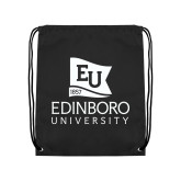 Black Drawstring Backpack-University Logo Vertical