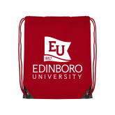 Red Drawstring Backpack-University Logo Vertical