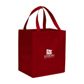 Non Woven Red Grocery Tote-University Logo Vertical