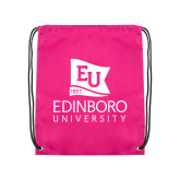 Pink Drawstring Backpack-University Logo Vertical