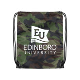 Camo Drawstring Backpack-University Logo Vertical