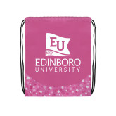 Nylon Pink Bubble Patterned Drawstring Backpack-University Logo Vertical
