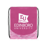 Nylon Zebra Pink/White Patterned Drawstring Backpack-University Logo Vertical