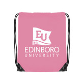 Light Pink Drawstring Backpack-University Logo Vertical