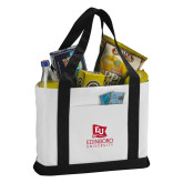 Contender White/Black Canvas Tote-University Logo Vertical