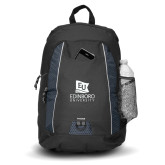 Impulse Black Backpack-University Logo Vertical