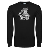 Black Long Sleeve T Shirt-Fighting Scots Athletic Mark Distressed
