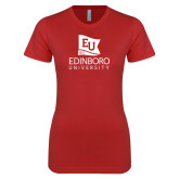 Next Level Ladies SoftStyle Junior Fitted Red Tee-University Logo Vertical