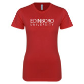 Next Level Ladies SoftStyle Junior Fitted Red Tee-University Wordmark