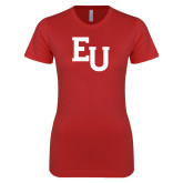 Next Level Ladies SoftStyle Junior Fitted Red Tee-EU Mark
