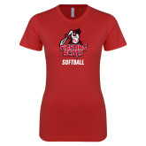 Next Level Ladies SoftStyle Junior Fitted Red Tee-Softball