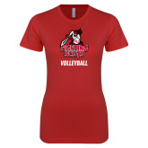 Next Level Ladies SoftStyle Junior Fitted Red Tee-Volleyball