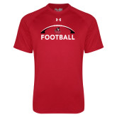Under Armour Red Tech Tee-Football with Half Ball Arch