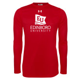 Under Armour Red Long Sleeve Tech Tee-University Logo Vertical