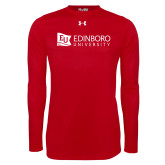 Under Armour Red Long Sleeve Tech Tee-University Logo Horizontal