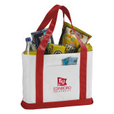 Contender White/Red Canvas Tote-University Logo Vertical