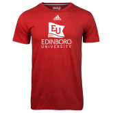 Adidas Climalite Red Ultimate Performance Tee-University Logo Vertical