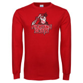 Red Long Sleeve T Shirt-Fighting Scots Athletic Mark Distressed