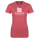 Next Level Ladies SoftStyle Junior Fitted Pink Tee-University Logo Vertical