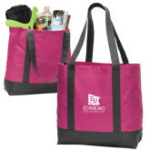Tropical Pink/Dark Charcoal Day Tote-University Logo Vertical