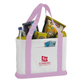 Contender White/Pink Canvas Tote-University Logo Vertical