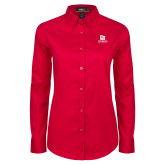 Ladies Red Twill Button Down Long Sleeve-University Logo Vertical