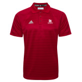 Adidas Climalite Red Jacquard Select Polo-University Logo Vertical