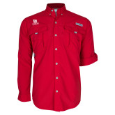 Columbia Bahama II Red Long Sleeve Shirt-University Logo Vertical