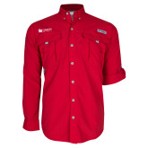 Columbia Bahama II Red Long Sleeve Shirt-University Logo Horizontal