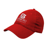 Red Twill Unstructured Low Profile Hat-University Logo Vertical